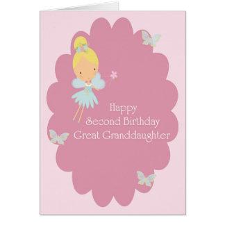 2. Geburtstag groß - Enkelin rosa Fee Grußkarte