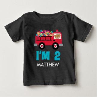 2. Geburtstagfiretruck-Feuerwehrmann Baby T-shirt