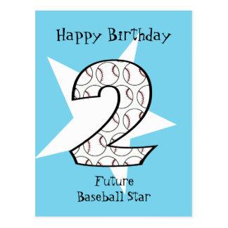 2. Geburtstags-blaue Baseball-Star-Postkarte Postkarte