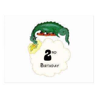 2. Geburtstags-Drache Postkarte