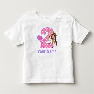 2. Geburtstags-Mädchen-Cowgirl-personalisiertes Kleinkind T-shirt