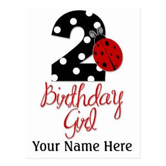 2. Geburtstags-Mädchen - Marienkäfer - 2 Dame Bug Postkarte