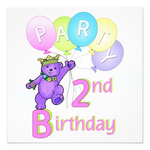 2. Geburtstags-Party-Prinzessin Bear Balloons Personalisierte Ankündigungskarten