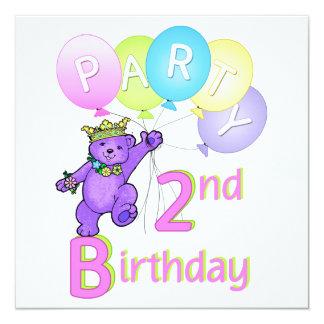 2. Geburtstags-Party-Prinzessin Bear Balloons Quadratische 13,3 Cm Einladungskarte