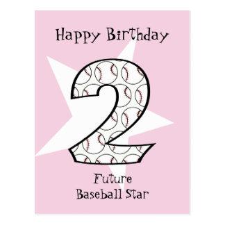 2. Geburtstags-rosa Baseball-Star-Postkarte Postkarte