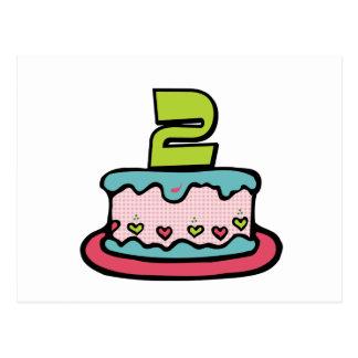 2-jährig-Geburtstags-Kuchen Postkarte