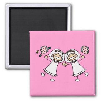 2 jeunes mariées magnet carré