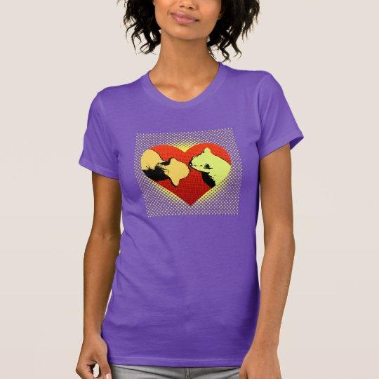 2 Katzen in einem Herzen hallo T-Shirt