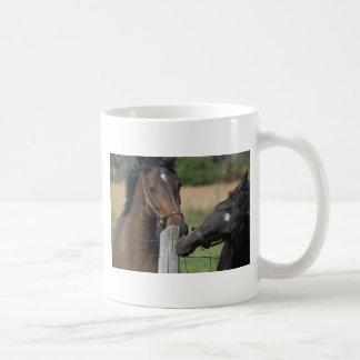 2 Pferde, die einen Zaun-Posten kauen Kaffeetasse
