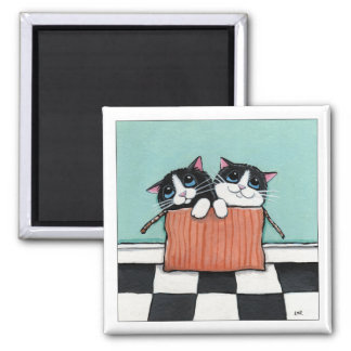 2 Smokings-Katzen in einem Katzen-Kunst-Magneten