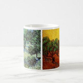 2 verschiedene Olivenhain-Baum-Vintage Kunst Van Kaffeetasse