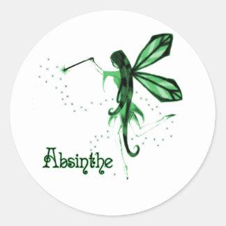 2D Croquis féerique vert d'absinthe Adhésifs Ronds