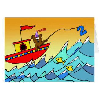 2ème Anniversaire pour l'enfant, pêche d'ours de Carte De Vœux