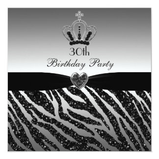 30. Geburtstag Prinzessin-Crown Zebra Glitter Quadratische 13,3 Cm Einladungskarte
