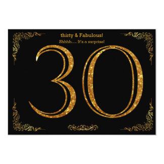 30. Geburtstags-Party, Gatsby styl, schwarzer 12,7 X 17,8 Cm Einladungskarte
