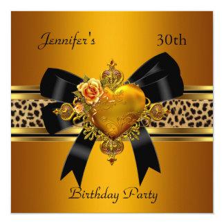 30. Geburtstags-Party-Goldherz-Juwel-Leopard Quadratische 13,3 Cm Einladungskarte