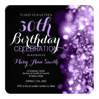 30. Geburtstags-Party-lila funkelnde Lichter Quadratische 13,3 Cm Einladungskarte