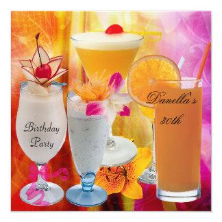 30. Geburtstags-Party-tropische Getränk-Cocktails Karte
