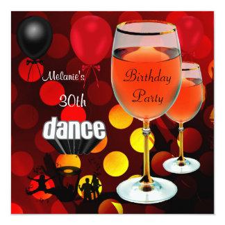 30. Geburtstags-Rotwein-Glastanz-Ballone Quadratische 13,3 Cm Einladungskarte
