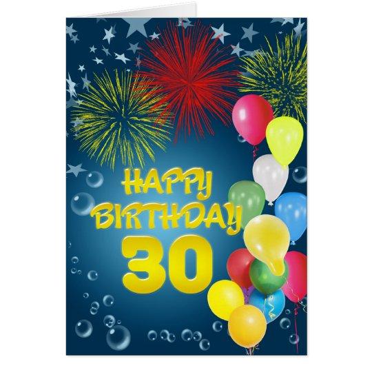 30. Geburtstagskarte mit Feuerwerken und Ballonen Karte