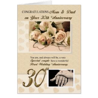 30. Perlen-Jahrestags-Mamma und Vati Grußkarte
