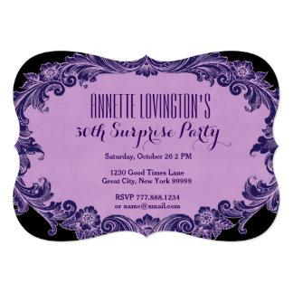 30. Überraschungs-Geburtstags-Party lila Vintages Personalisierte Ankündigungskarten