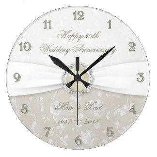 30ème horloge d'anniversaire de mariage de damassé
