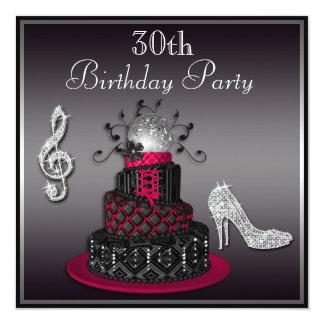 30ème Roses indien de gâteau et de talons de diva Carton D'invitation 13,33 Cm