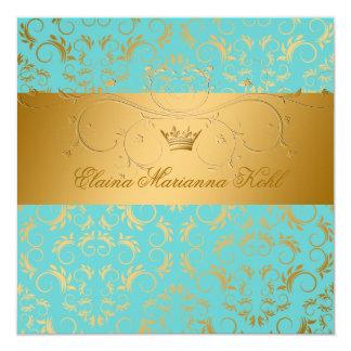 311-Golden erahnen Türkis-Begeisterungs-Bonbon 16 Quadratische 13,3 Cm Einladungskarte