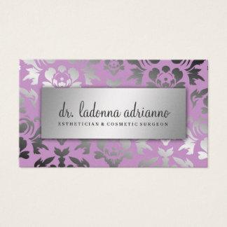 311 Ladonna Damast-Silber-Stoff-Flieder Visitenkarte