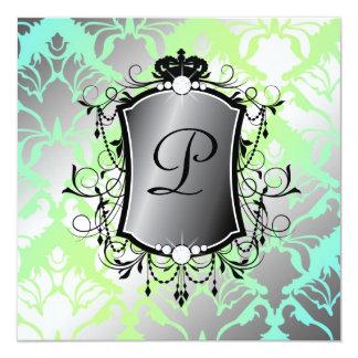 311 Ooh La-La-Aqua-Limone Damast-Baby-Dusche Quadratische 13,3 Cm Einladungskarte