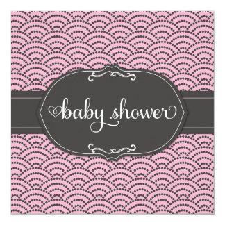 311 rosa u. Grau punktierte Regenbogen-Babyparty Quadratische 13,3 Cm Einladungskarte