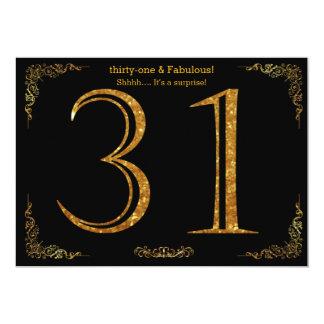 31. Geburtstags-Party, Gatsby styl, schwarzer 12,7 X 17,8 Cm Einladungskarte