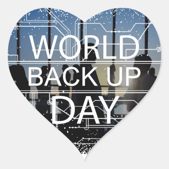 31. März - Weltaushilfstag Herz-Aufkleber
