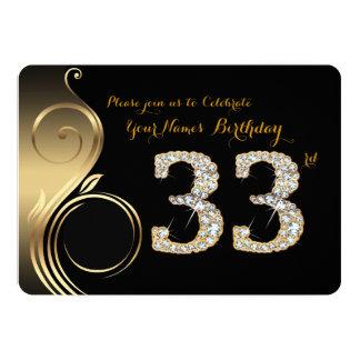 33., Geburtstags Einladung, Zahl Diamant, Foto Karte