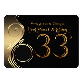 Schön 33., Geburtstags Einladung, Zahl Glitter Gold, 12,7