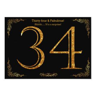 34. Geburtstags-Party, Gatsby styl, schwarzer 12,7 X 17,8 Cm Einladungskarte