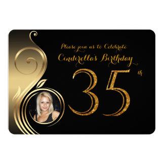 35., Geburtstags Einladung, Zahl Glitter Gold, Karte