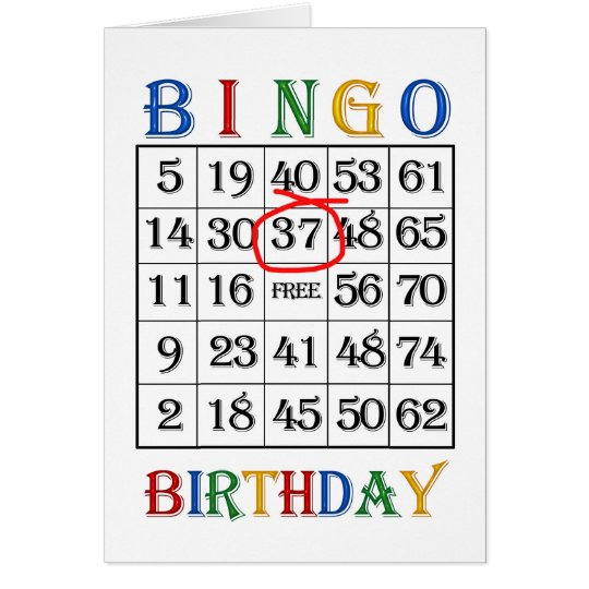 37. Geburtstags-Bingokarte Karte