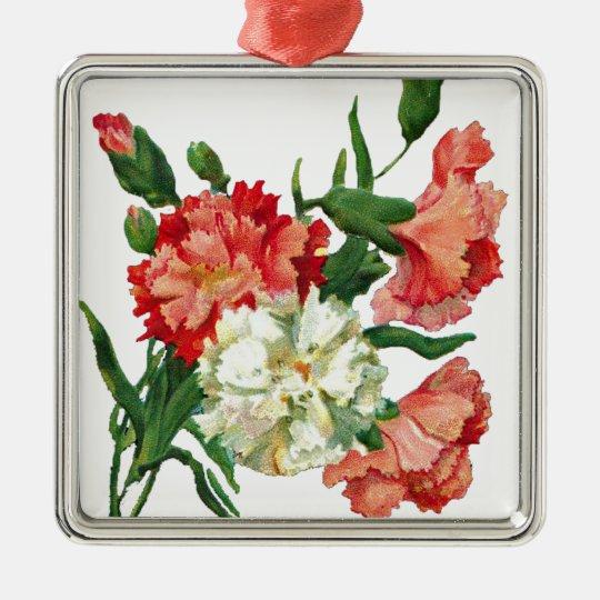 3800 carnation1 quadratisches silberfarbenes ornament