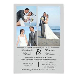3/4 faire-part gris vertical de mariage de photos