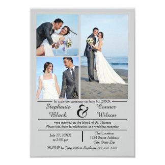 3/4 Hochzeits-Mitteilung des Foto-vertikale 8,9 X 12,7 Cm Einladungskarte