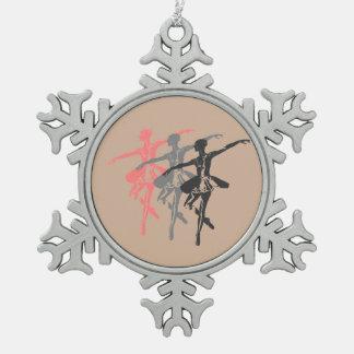 3 Ballerinen Schneeflocken Zinn-Ornament