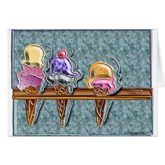 3 cornets de crème glacée 1 carte de vœux