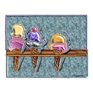 3 cornets de crème glacée 1 cartes postales