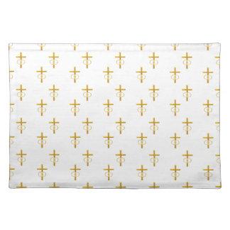 """""""3-D"""" Blick-goldenes Kreuz mit Eheringen Tischset"""