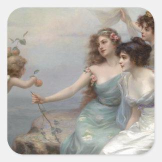3 Damen und Engel Quadratischer Aufkleber