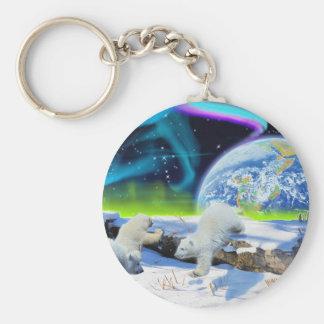 3 Eisbär CUB, das im Schnee - Tag der Erde-Kunst Schlüsselanhänger