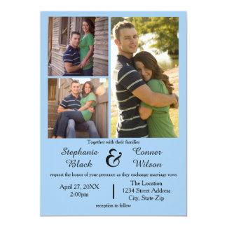 3 Foto-Blau - Hochzeits-Einladung Karte