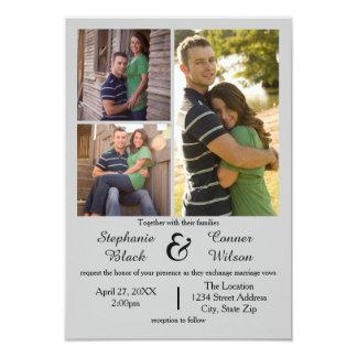 3 Foto-Grau - Einladung der Hochzeits-3x5